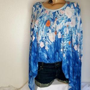 Meadow Rue blue floral swing top long sleeve M